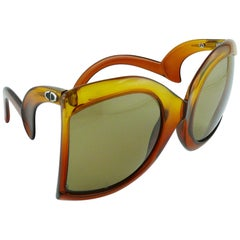 Christian Dior Vintage Oversized Sunglasses with Extravagant Shape Temples