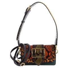 Burberry Patchwork Buckle Flap Bag Snakeskin with Leather and Pony Hair Small