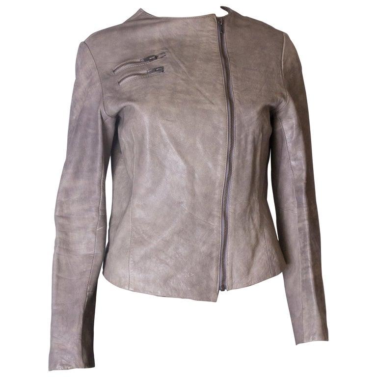 Vintage Grey Leather Jacket For Sale