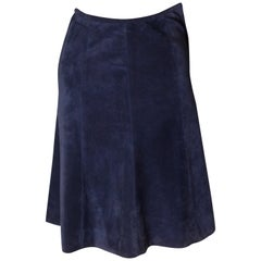 Vintage Blue Suede Skirt from Fortnum and Mason