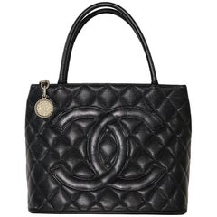 Chanel Caviar Leather Medallion with Silver Hardware in Black Shoulder Handbag