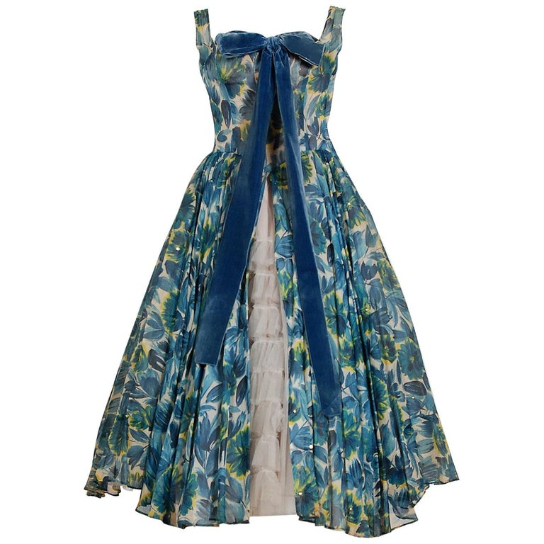 1950's Will Steinman Sequin Blue Floral Silk-Organza & Ruffle Tulle Party Dress For Sale