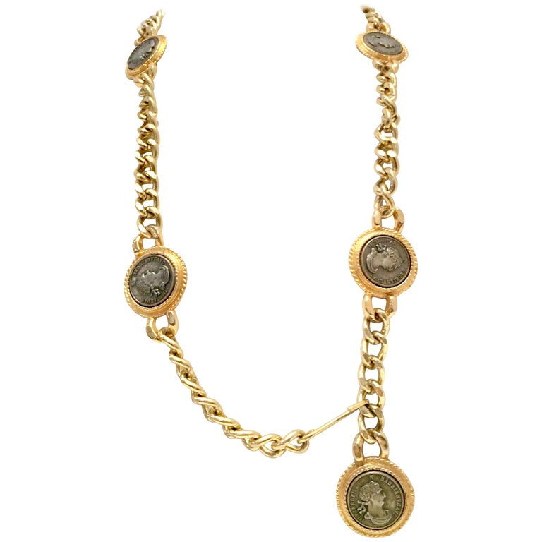 80'S Gold Plate & Roman Coin Chain Link Belt/Necklace By, Omega For Sale