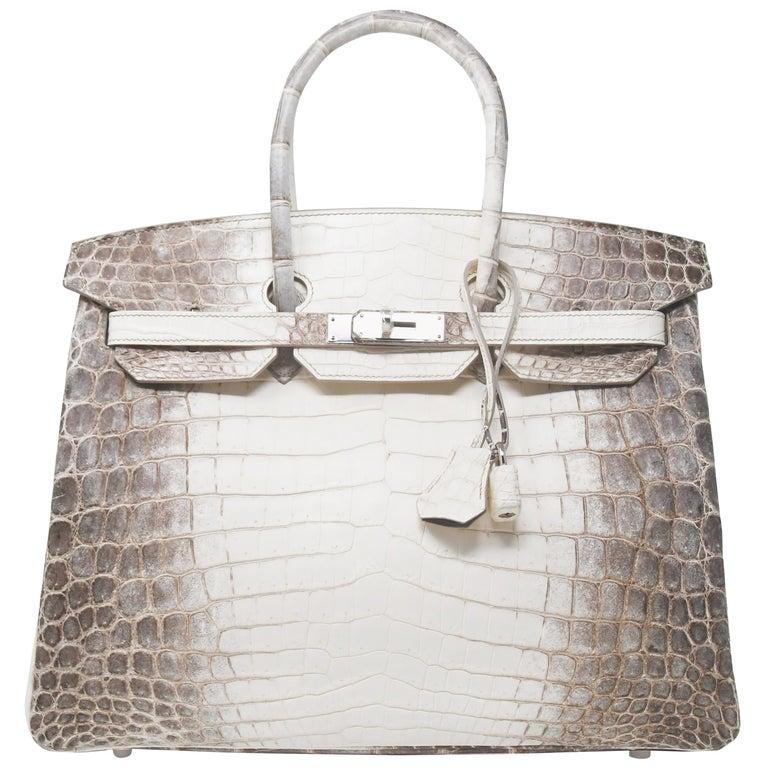 a7734ccc5729 Hermes Birkin Bag 35cm Blanc Himalayan Crocodile with Palladium Hardware  For Sale at 1stdibs