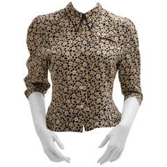 White Black Lolita Lempicka Vintage Silk Blouse with Flower Allover Print  1980s