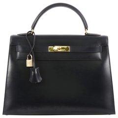 Hermes Kelly Handbag Blue Marine Box Calf with Gold Hardware 32