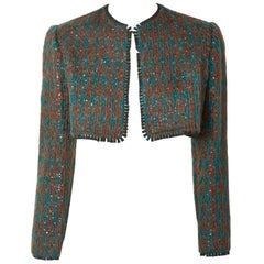 Geoffrey Beene Tweed and Sequined Bolero