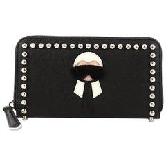 Fendi Karlito Zip Around Wallet Studded Saffiano Leather