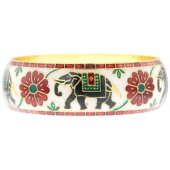 Elephant and Floral Enamel Bangle Bracelet with Brass- White