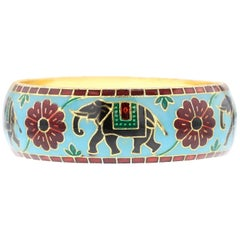 Elephant and Floral Enamel Bangle Bracelet in Brass- Light Blue