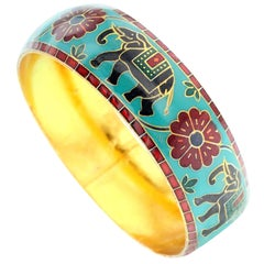 Elephant and Floral Enamel Bangle Bracelet in Brass- Teal