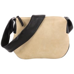 Celine Ribbon Shoulder Bag Suede with Leather Small