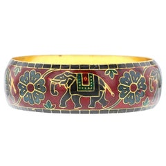 Elephant and Floral Enamel Bangle Bracelet in Brass- Red