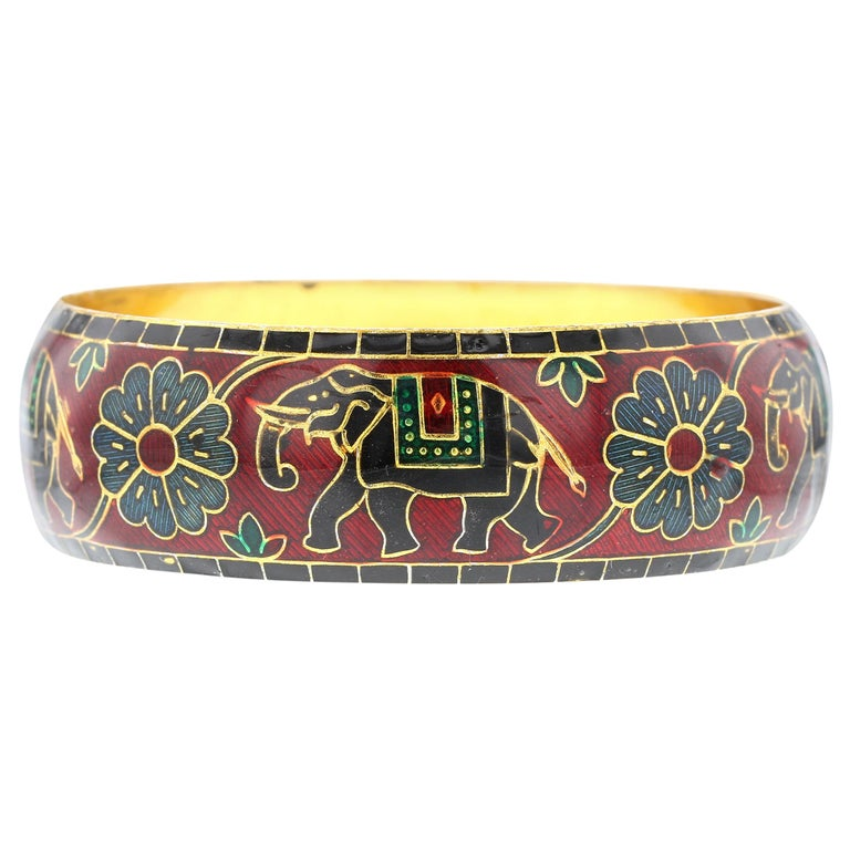 Elephant And Fl Enamel Bangle Bracelet In Br Red For