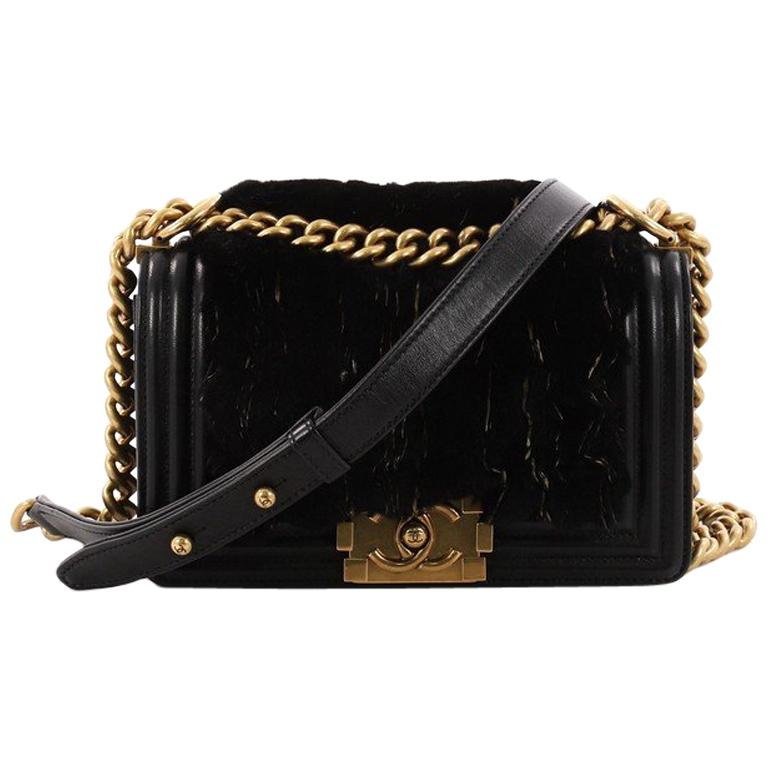 Chanel Boy Flap Bag Fur with Leather Small For Sale at 1stdibs ea67820cdb