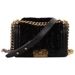 Chanel Boy Flap Bag Fur with Leather Small