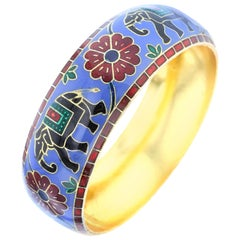 Elephant and Floral Enamel Bangle Bracelet in Brass- Steel Blue