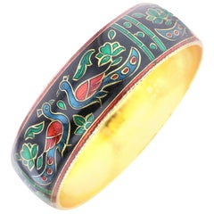 Traditional Peacock Enamel Bangle Bracelet in Brass- Black