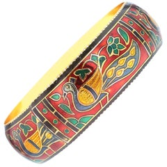 Traditional Peacock Enamel Bangle Bracelet in Brass- Red