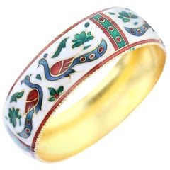Traditional Peacock Enamel Bangle Bracelet in Brass- White