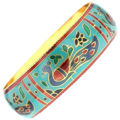 Traditional Peacock Enamel Bangle Bracelet in Brass- Teal