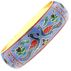 Traditional Peacock Enamel Bangle Bracelet in Brass- Steel Blue