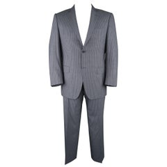 CANALI 42 Regular Navy Blue Striped Wool Single Breasted Notch Lapel Suit