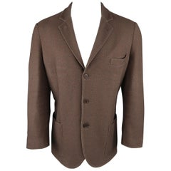 LORO PIANA 42 Regular Brown Heather Silk / Cashmere Notch Lapel Sport Coat
