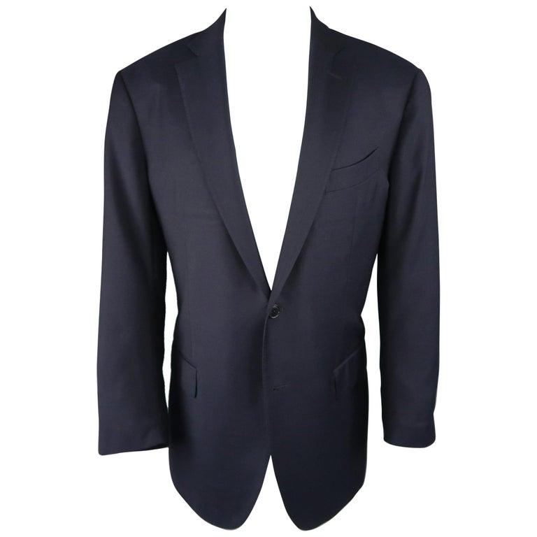 37ea237220 ERMENEGILDO ZEGNA 44 Regular Navy Solid Wool Notch Lapel Sport Coat