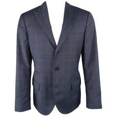 BRUNELLO CUCINELLI 38 Regular Navy Plaid Wool Peak Lapel Sport Coat