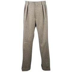 RALPH LAUREN Size 34 Gray Herringbone Wool Pleated Dress Pants