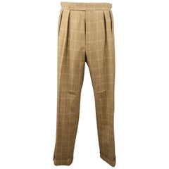 RALPH LAUREN Size 34 Camel Window Pane Wool Pleated Dress Pants