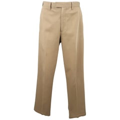 PRADA Size 32 Khaki Tan Solid Cotton Blend Twill Straight Leg Dress Pants