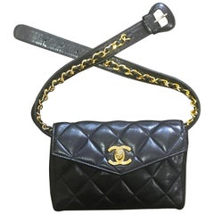 "Vintage CHANEL black belt bag, fanny pack with golden chain belt and CC. 28""-30"""
