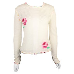Chanel White Cotton Knitted with Inserted Colours Silk Trims Long Sleeves Top