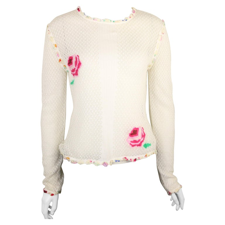 Chanel White Cotton Knitted with Inserted Colours Silk Trims Long Sleeves Top For Sale