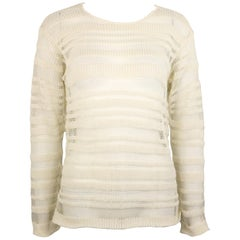 Dolce and Gabbana White Cotton and Silk Knitted Mesh Long Sleeves Sweater Top