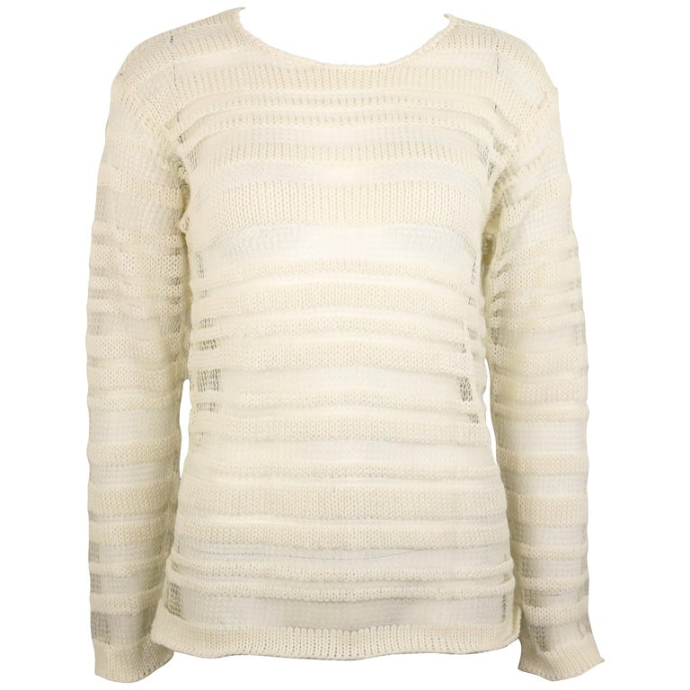 Dolce and Gabbana White Cotton and Silk Knitted Mesh Long Sleeves Sweater Top  For Sale