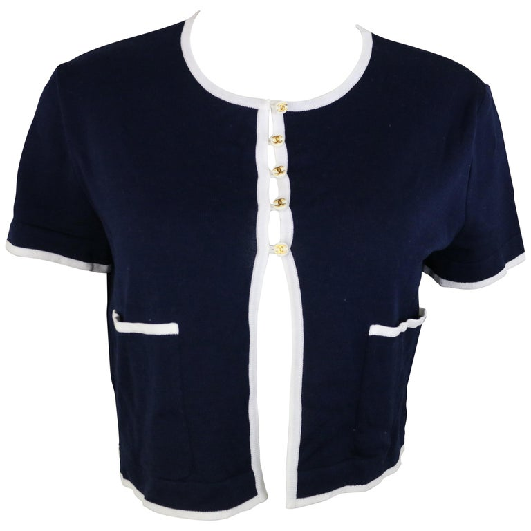 Chanel Navy with White Piping Cotton Knitted Cropped Short Sleeves Cardigan  For Sale