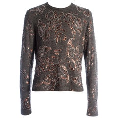 Dolce & Gabbana Men's grey sequin embroidered knitted sweater, c. 1995-1999