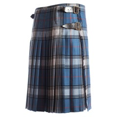 Vivienne Westwood Mens tartan pleated kilt skirt with leather belts, A/W 2004