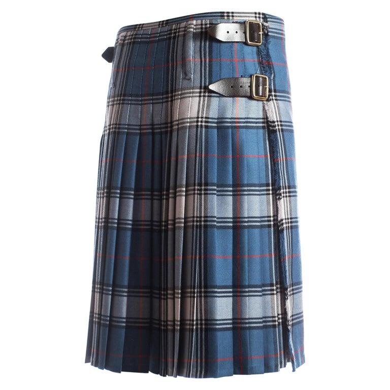 Vivienne Westwood Mens tartan pleated kilt skirt with leather belts, A/W 2004