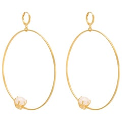Puro Iosselliani Creole Hoop Gold Rose Quartz Earrings