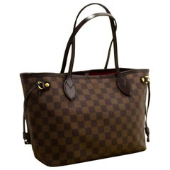 Louis Vuitton Damier Ebene Neverfull PM Shoulder Bag Canvas