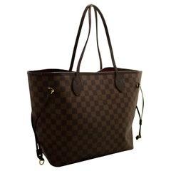 Louis Vuitton Damier Ebene Neverfull MM Shoulder Bag Canvas