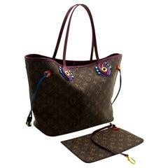 Louis Vuitton Auth Monogram Totem Neverfull MM Magenta M41664 Shoulder Bag