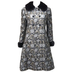 1960's Lillie Rubin Silver Lamé & Black Metallic Dress & Coat With Mink Trim