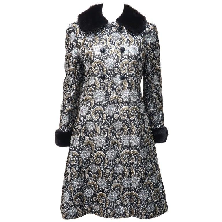 1960's Lillie Rubin Silver Lamé & Black Metallic Dress & Coat With Mink Trim