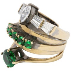 Iosselliani Cocktail Stacked Emerald Ring