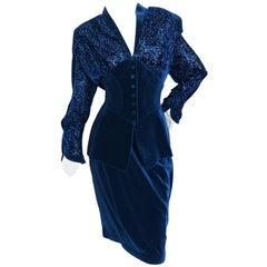 Thierry Mugler Paris Vintage 1980's Navy Blue Devore Velvet Skirt Suit Size 44